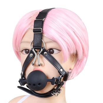 Silicone Breathable Wiffle Mouth Open Gag with Nose Hook, Bite Ball Gag Harness Belt Adult Sex Toys for Couple image