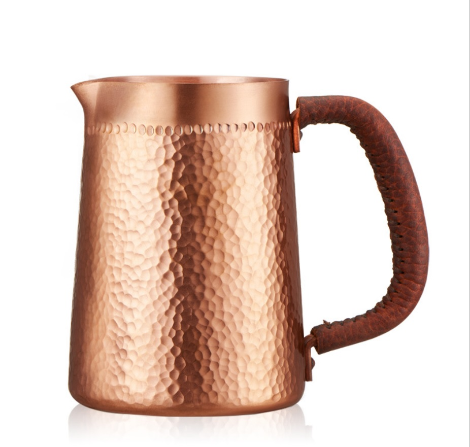 1pc 400ml pure copper hand made Embossing Milk Pitcher/Jug Latte Art Pitcher tea cup for barista