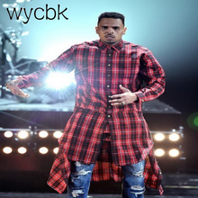 wycbk  men streetwear shirts side zipper plaid Pockets hip hop flannel brand Tyga Camisetas masculinas tartan man clothes