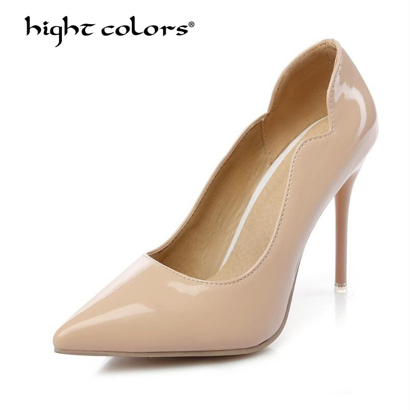 Women Shoes White High Heels Flock+Patent Leather Pumps Nude Red Wedding Party Shoes Thin Heels Small Size 34 Plus 44 45 46 47