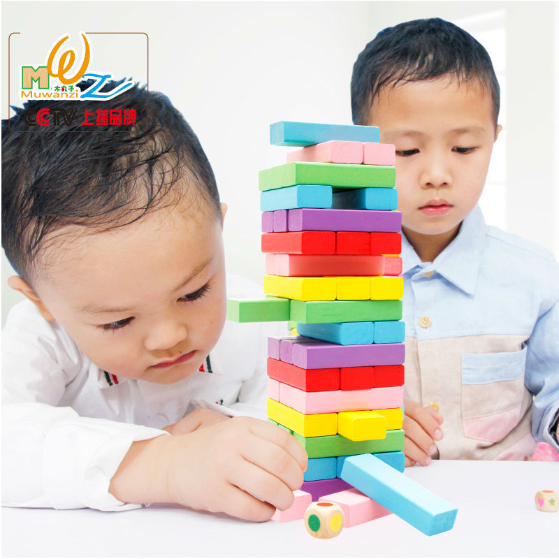 48PCS Wood large rainbow high stacks building blocks Children's Domino Set Kids educational wooden toys Adult desktop Block game