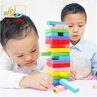 48 PCS Wood large rainbow high stacks building blocks Children's Domino Set, Kids educational wooden toys Adult desktop game