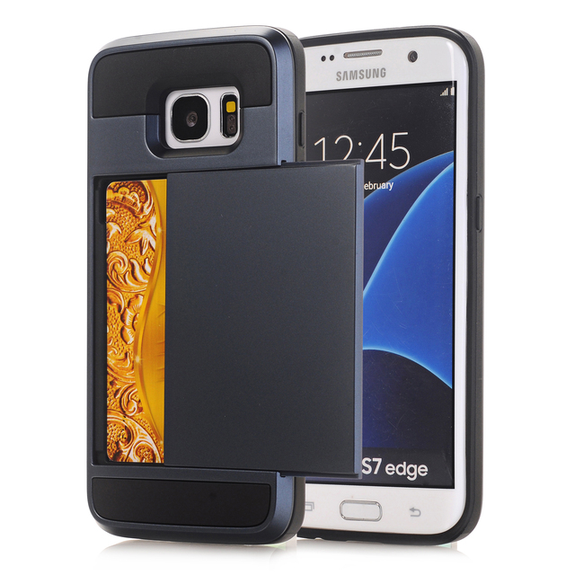 pretty nice 8d337 d4819 US $3.88 |Armor Slide Credit Card Case For Samsung Galaxy S9 S8 Plus S7 S6  edge Plus S4 S5 Slot Wallet Shock Proof Skin Hard PC TPU Cover-in ...