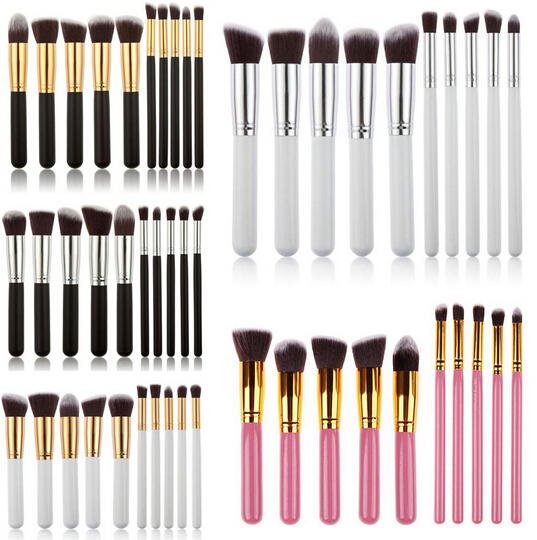 Premium Synthetic Kabuki Makeup Brush Set 10pcs Kabuki Kit F80 F82 - Kabuki-makeup