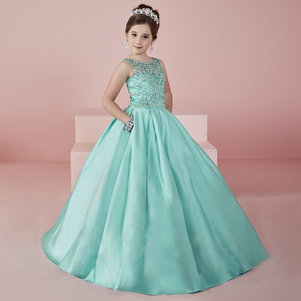 Fancy aquamarine heavily crystal beaded girl pageant gowns for Wedding party dress up
