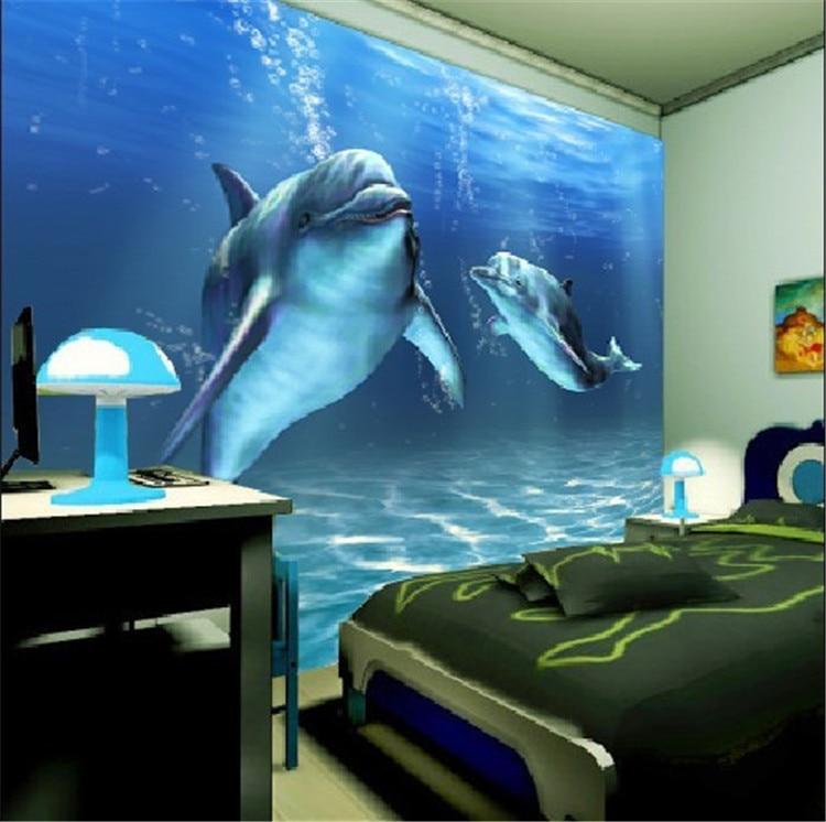 ... Charms Sea World Wall Mural 3D Cute Dolphin Wallpaper Large Wall Art Room  Decor Bedroom Sofa ...