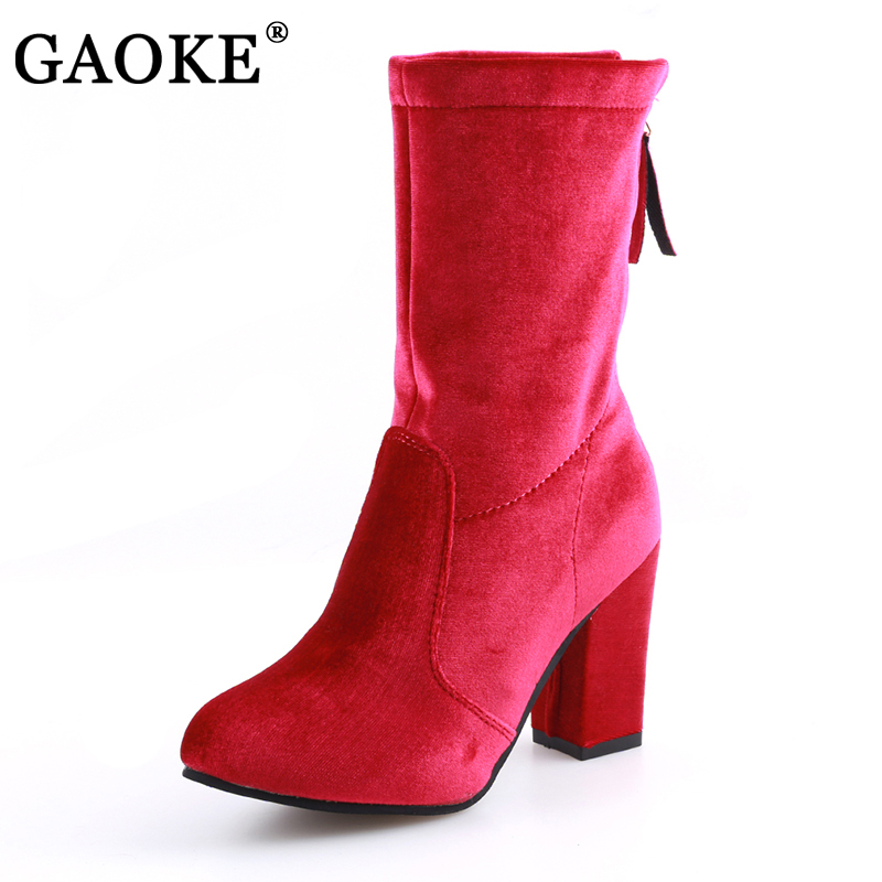 Women's Boots Round Toe Yarn Elastic Ankle Boots Thick Heel High Heels Shoes Woman Female Socks Boots 2017 Winter xiuningyan women s boots round toe elastic ankle boots thick heel high heel shoe woman female fashion stretch socks boots winter