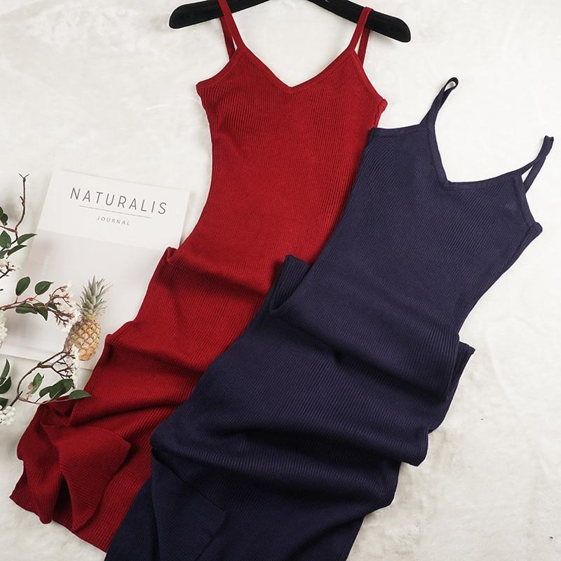 2018 Women Long Knitted Dress Summer Autumn Split Spaghetti Strap Dresses Ladies V-Neck Backless Tank Dress Sweater Vestidos 922