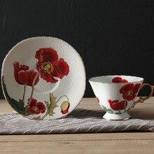 220 мл роскошный цветок позолоченный Керамика костяного фарфора Кофе Кубок набор кружка капучино Кофе Чай чашка и блюдце