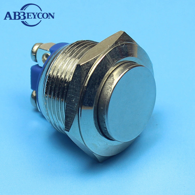 1970 high flat head 19mm 1NO momentary anti-vandal metal button swtich professional push button switch