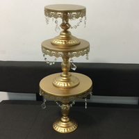 Gold White Cake Stand Metal Iron Crystal Pendant Cupcake Stand Wedding Party Decoration Supplier Baking Cake
