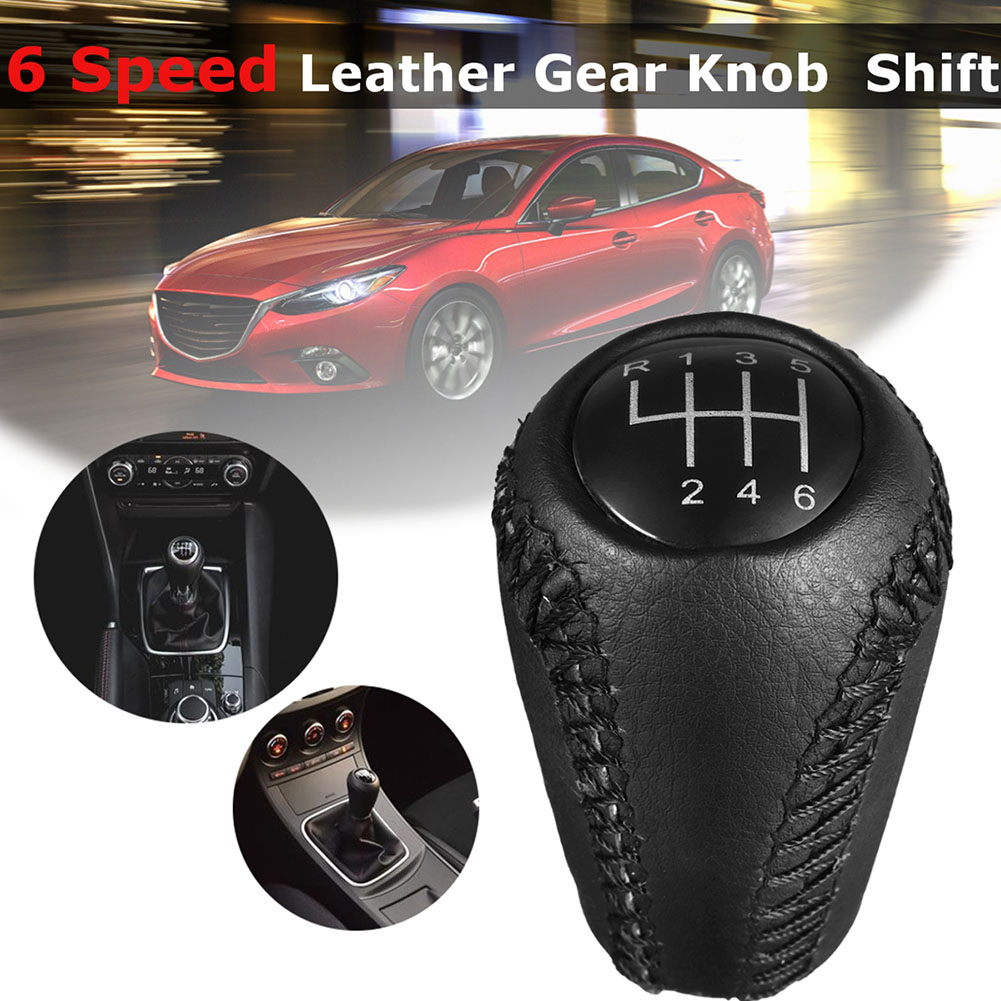 White stitch automatique auto gear knob leather cover fits peugeot 205 MK2