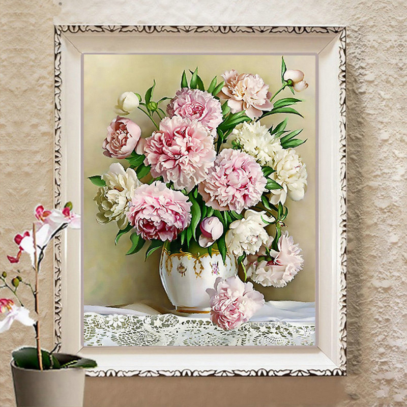 Diy DMC counted cross stitch printed on canvas Kits vase flower chinese cross stitch kits for embroidery patterns giftDiy DMC counted cross stitch printed on canvas Kits vase flower chinese cross stitch kits for embroidery patterns gift