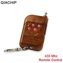 Transmissor rf de código de aprendizagem, controle remoto sem fio qiachip 433mhz para porta inteligente universal, porta elétrica de garagem