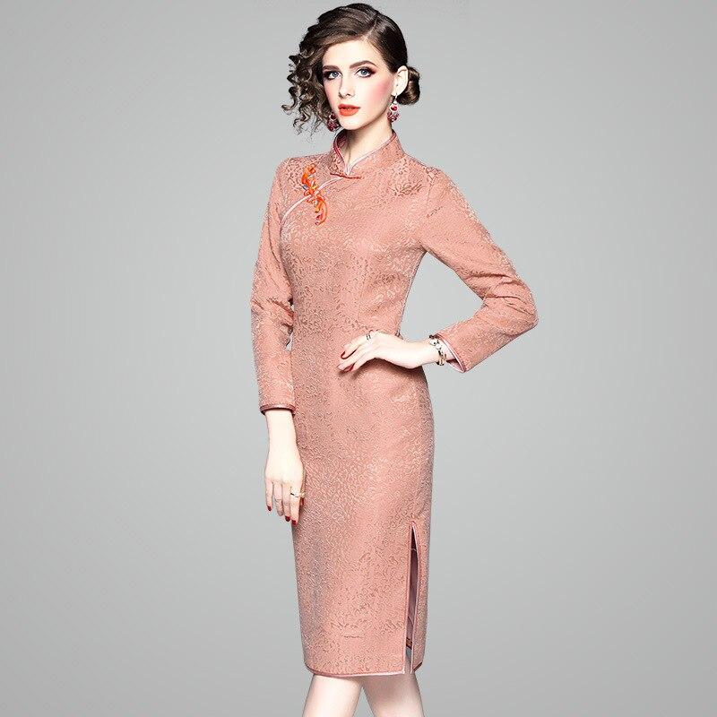 Eleganr 81301 Plaque Piste Boucle De Luxe Hiver Oycp Robe Femmes Automne Nouvelle 2018 Rose Robes Jacquard Main c54R3ASLqj