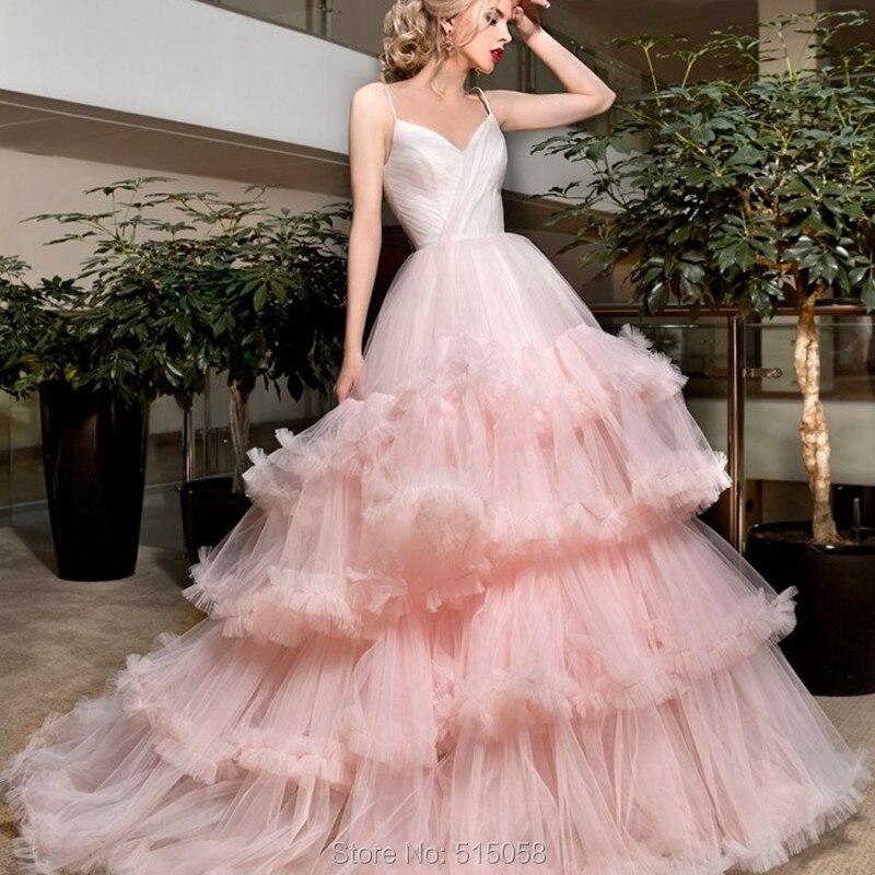 Mint rosa Nube Ruffles Organza Vestido de Novia Vestidos de Novia ...