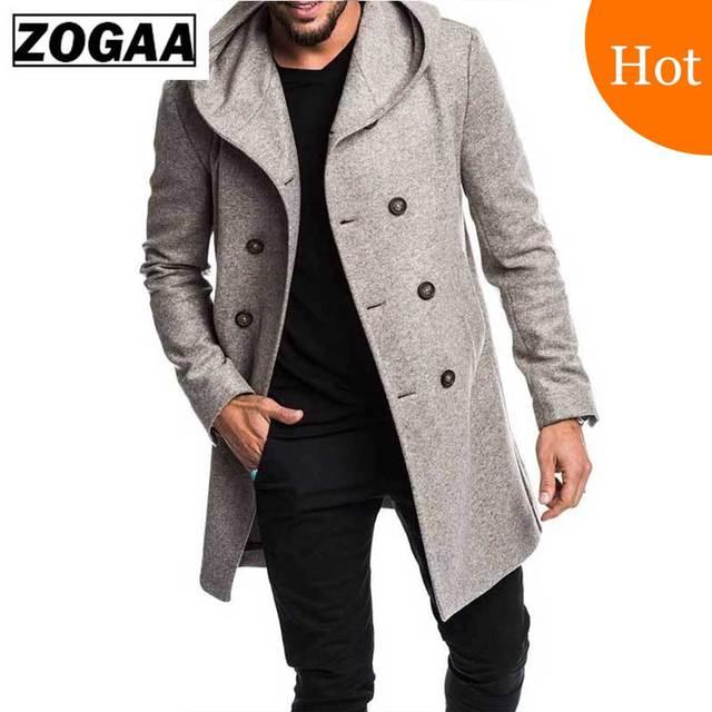 ZOGAA メンズトレンチコートジャケット春の秋のメンズオーバーコートカジュアル Sobretudo MasculinoTrench 服 Abrigo Hombre