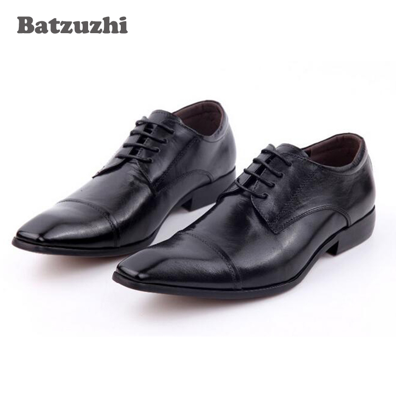2018 New Handmade Men Shoes Square Toe Lace Up Oxford Formal Business Leather Men's Dress Shoes Black Office Suit Shoes, Size 4 pjcmg new fashion luxury comfortable handmade genuine leather lace up pointed toe oxford business casual dress men oxford shoes