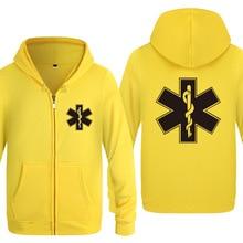 Moletom estampado de ambulância para homens, casaco de inverno, jaqueta de manga longa com capuz