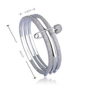 Image 3 - MECHOSEN Unique Design 3 Round With Pins Bangles For Women White Rose Gold Color Love Cuff Bracelet Copper Pulseira Feminina