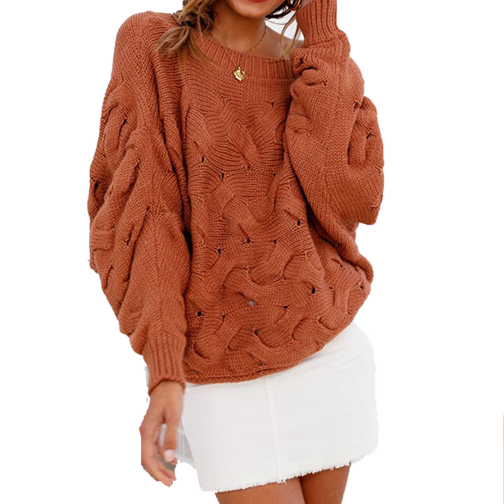 Autumn Winter Knitted Sweater for Women Sexy Off Shoulder Pullover Ladies Crochet Knitwear Long Sleeve Loose Pullover Sweaters