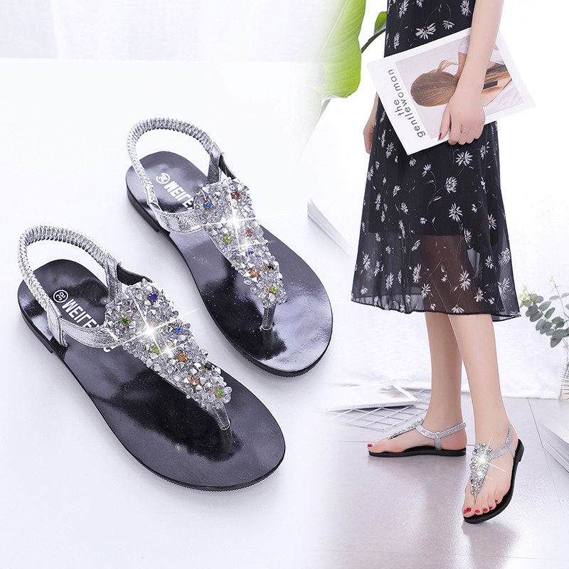PHYANIC 2018 New Bohemian Women Sandals Crystal Flat Heel Sandalias Rhinestone Chain Women Shoes Thong Flip Flops Zapatos Mujer 2018 new bohemian women sandals crystal flat heel slipper rhinestone chain women casual beach shoes size 34 44