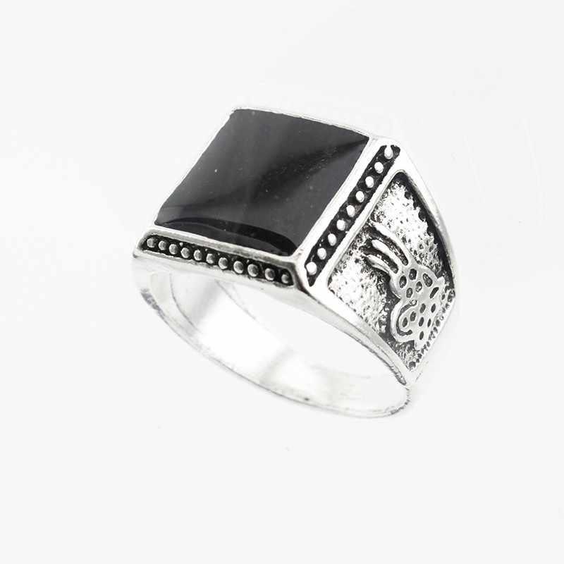 2018 Vintage แหวนเครื่องประดับสแควร์หินสีดำสำหรับผู้หญิง/ผู้ชายโบราณแหวนเงิน