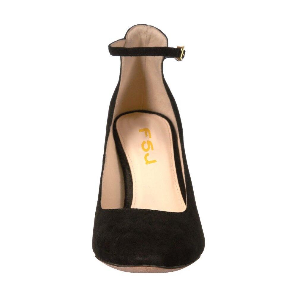 Noir Bout Pompes Classique Carrés Talons À Chaussures Main Travail La Femme Taille Automne Bride Haute Rond Fsj Fsj01 Robe 2018 Femmes Cheville Dames ZntqqgI