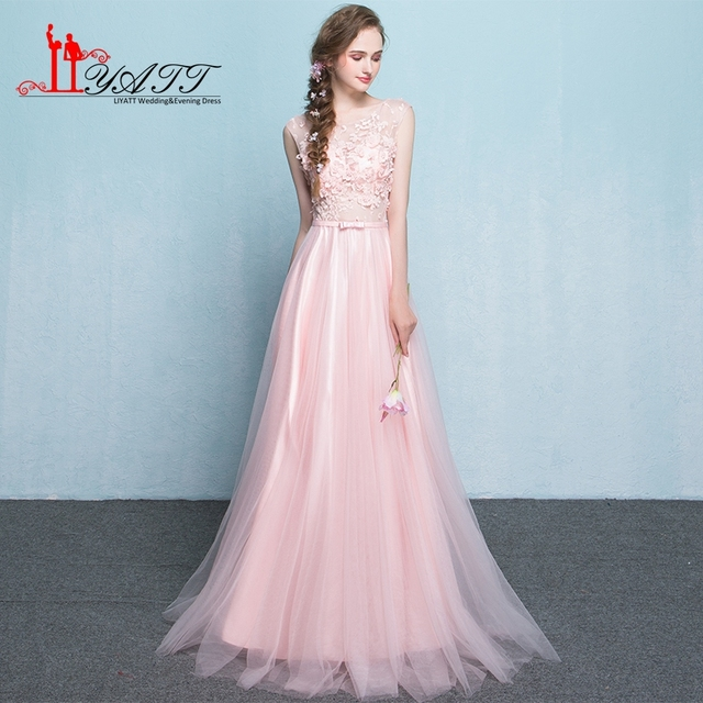 f6a1f78c1e Real Photo Cheap Lilac Bridesmaid Dress With Bow Sash Floor Length  Bridesmaid Gown Pink Party Gown