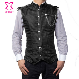 Image 4 - Black Striped Stand Collar Sleeveless Steel Boned Mens Steampunk Vest Gothic Corset Jacket Slimming Corset For Men
