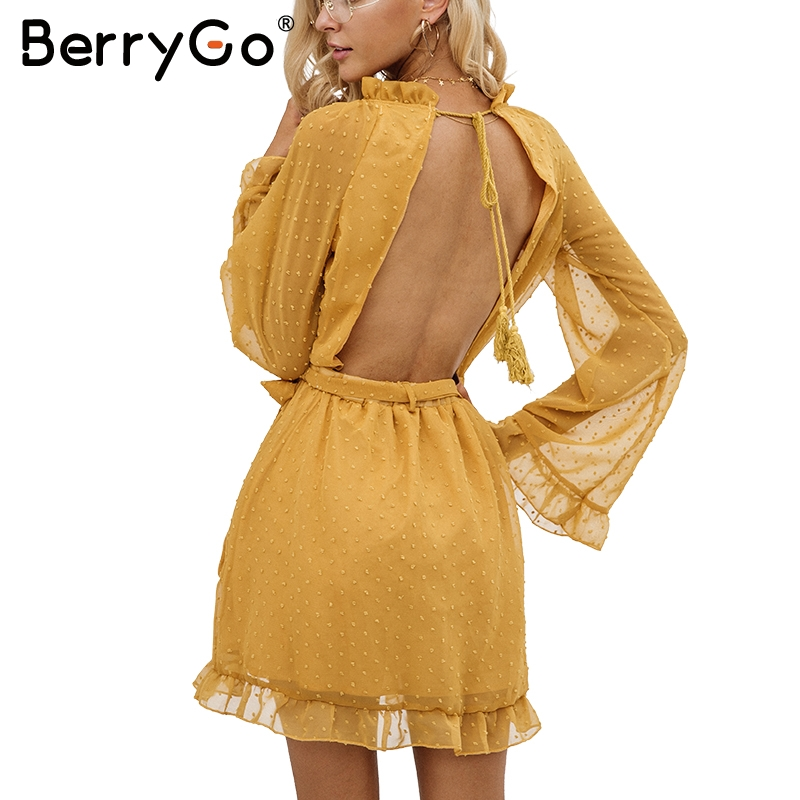BerryGo Elegant lace up backless mesh dress women Fashion stringy selvedge sash mini dress Long flare sleeve dresses vestidos
