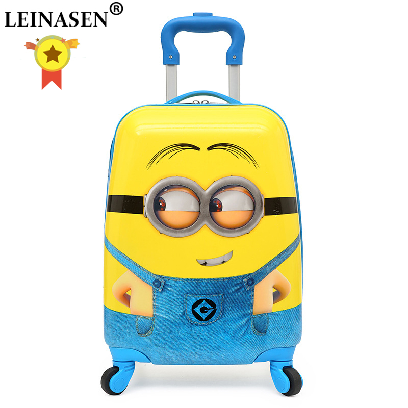Kid Suitcase Wheeled-Bag Trolley Rolling-Luggage Carry-Ons Children Cartoon Girl 18inch