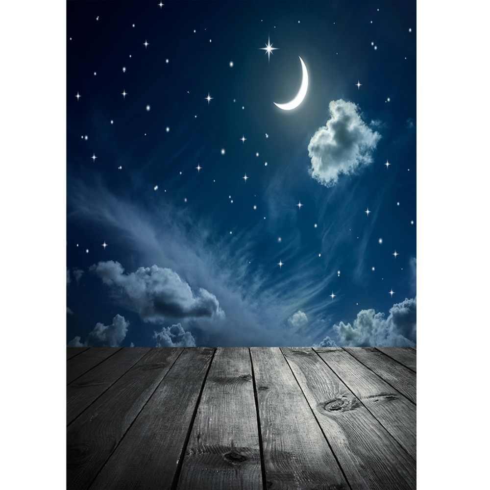Lune nuage photographie toile de fond plancher en bois fond pour Photo Shoot accessoires enfant bébé douche tissu fond Photo Studio