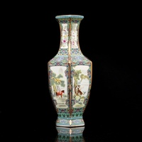 Enamel Ceramic Vase Painting in Qianlong Year Mark Golden Zodiac Hexagonal Vase Antique Porcelain Collection