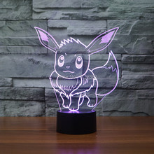 Color changing Flashing touch sensor control Pokemon Go Eevee Arcylic 3D LED Night Light USB 3D LED Pokemon Eevee table Lamps