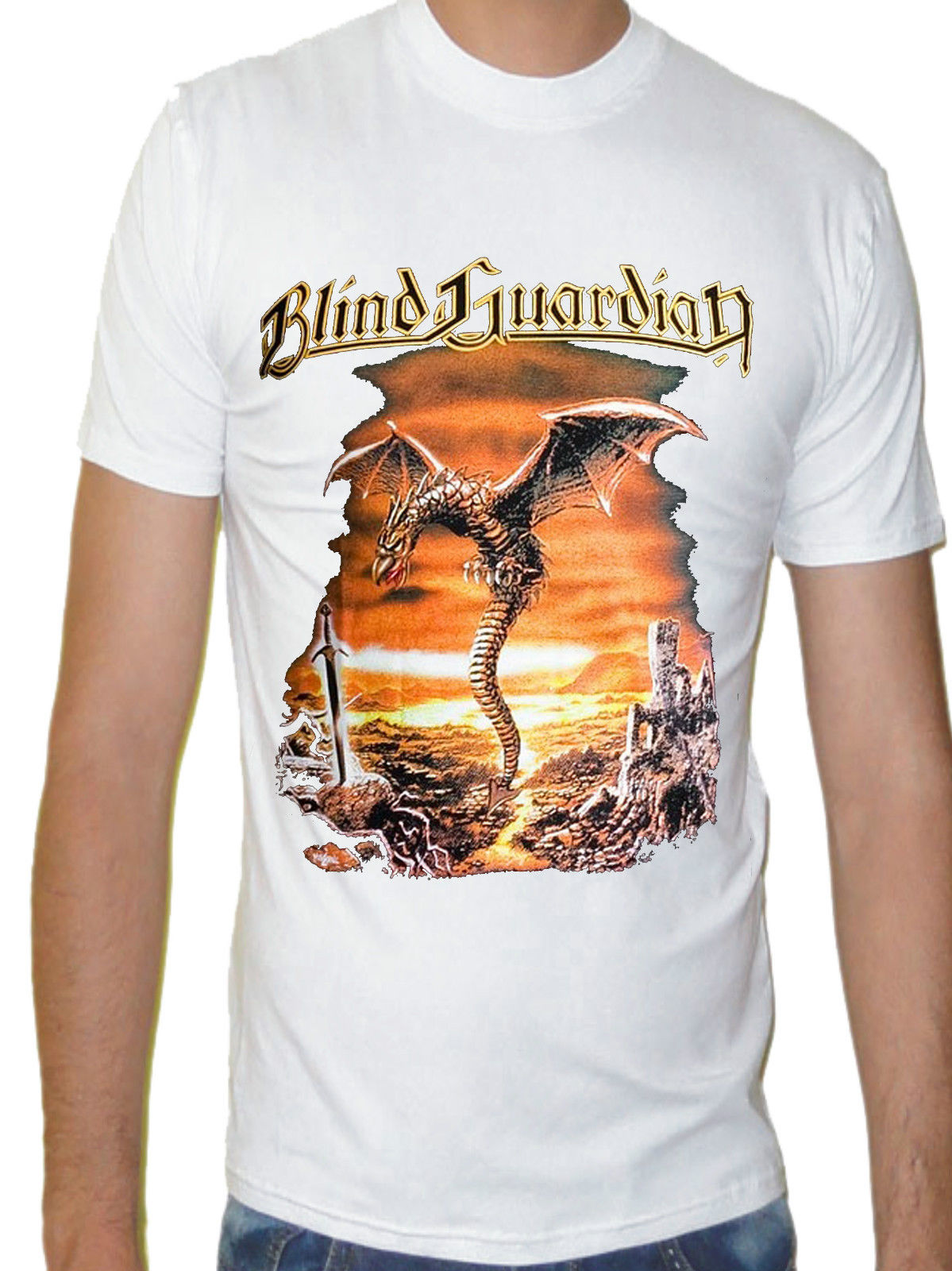 BLIND GUARDIAN BAND WHITE New T-shirt Rock T-shirt Rock Band Shirt Rock Tee T Shirts Casual Brand Clothing Cotton