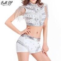 Sexy White diamond silver Sequins bodysuit women two Piece Playsuits body streetwear luxury Nightclub Party show jumpsuit short