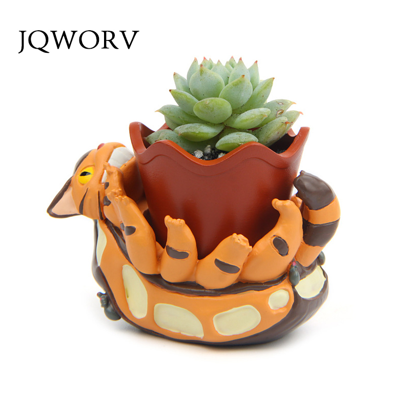 JQWORV Creative Totoro Flower Pot Resin Flowerpot Succulent Plants Planter Pot Mini Maceteros Home Garden Decoration Planting