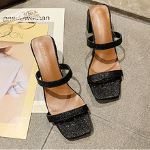 Bling Silver Sandals Women Slip On High Heels Summer 2019 Classics Sexy Ladies Square Black