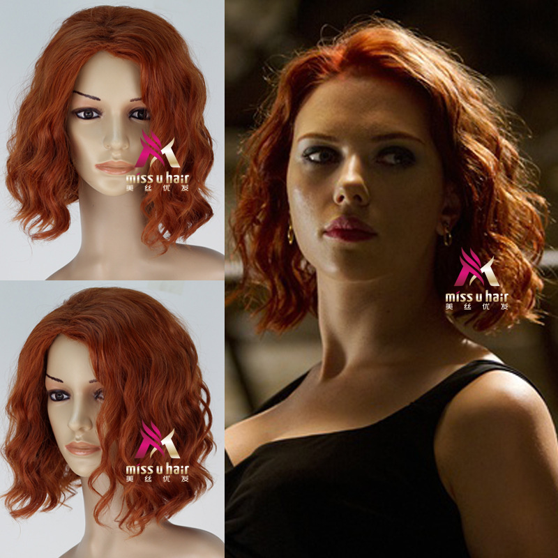 Us 15 46 9 Off Infinity War Cosplay Black Widow Natasha Romanoff Short Curly Hair Halloween Role Play Hairwear On Aliexpress