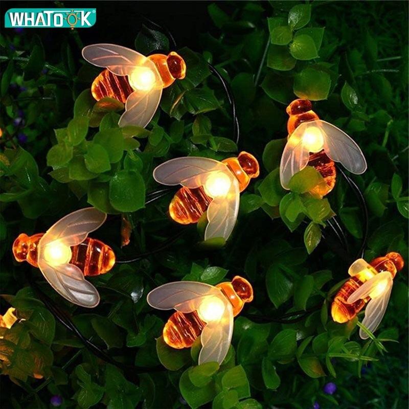 LED Solar Bee String Light 5M 6M 7M 12M 22M Garland Honey Garden Xmas Decoration Waterproof Tree Hanging Fairy Christmas Lights