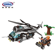 XINGBAO 10004 City Police Series Chasing The Poachers Scene Building Blocks Bricks Helicopter Car Model Educational Toys