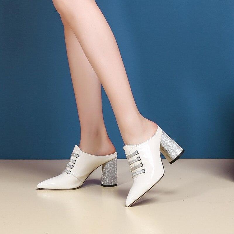 green La Charol Zapatos Tacones Del Altos Slingback Verano Bombas Black Señaló Marca Genuino Mujer De white Slides Dedo Cuero Pie wE4RqUp