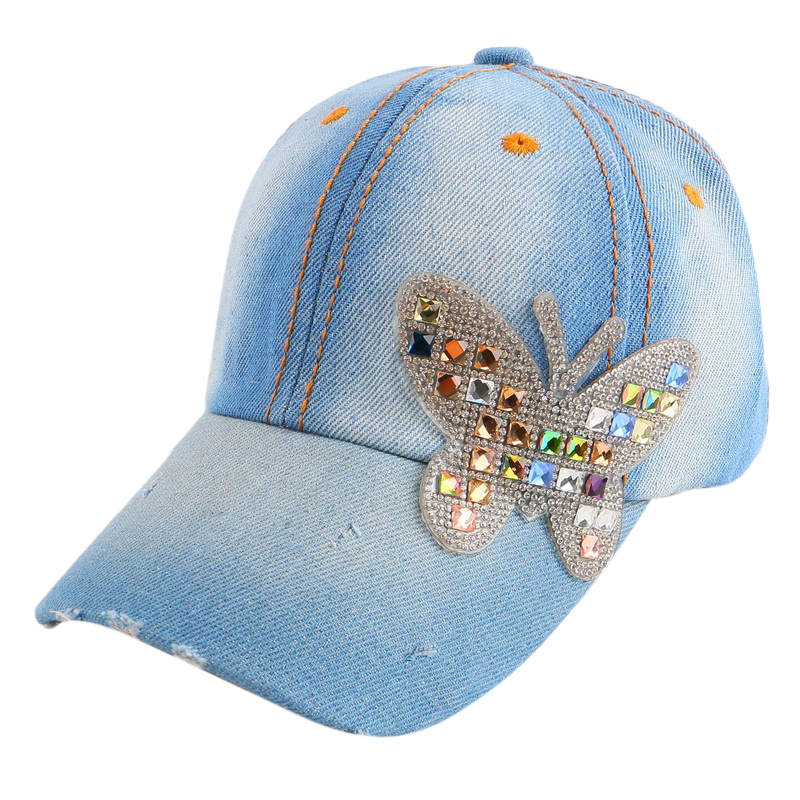4-11 year boy girl children luxury beauty summer   baseball     cap   multi color rhinestone butterfly kids child fashion snapback hat