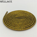 Wellace Cool gold silver metallic shoelaces colored shoe strings black round shoelace dress glitter trainer laces 125cm/49""