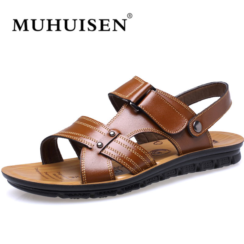 2018 Big size38-48 Genuine Leather Men Sandals slippers Flip Flops Sneakers Beach Sandals Summer Shoes