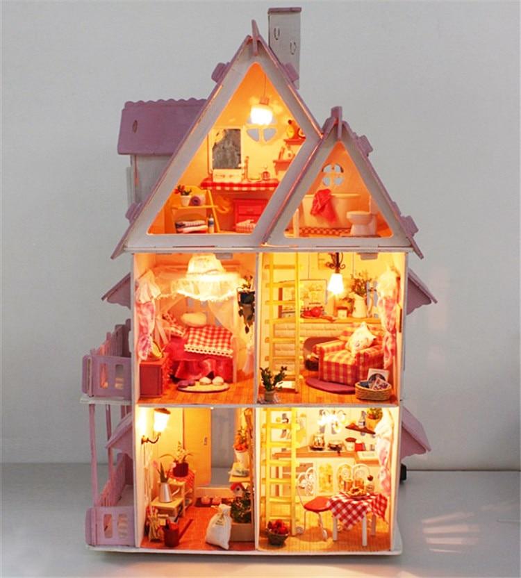 Bricolage modèle soleil Alice maison de poupée livraison gratuite assembler Villa poupée maison/bois enfants Mini jouet en bois Miniature maison de poupée