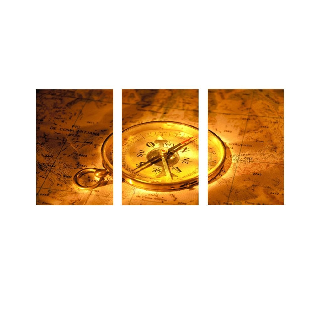 Canvas Wall Clock Design : Home decor canvas frameless yellow clock modern wall