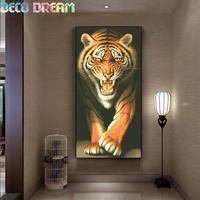 Diy Full Round Diamond Embroidery Painting Rhinestones Kit Tiger Great King Of Animals Mosaic Picture Decoration As A Hobby Gift