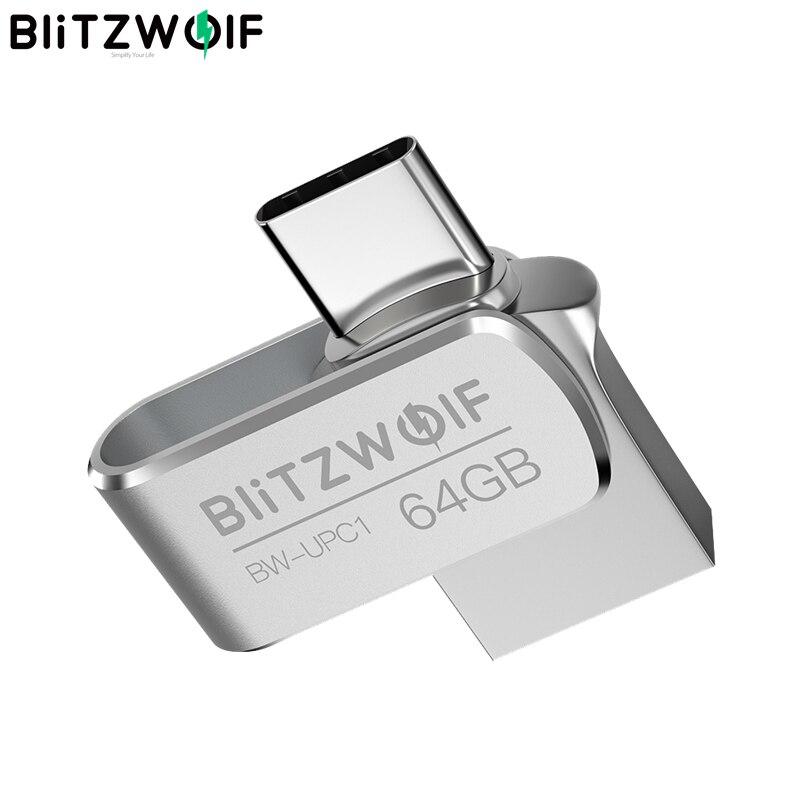 BlitzWolf BW-UPC1 2 en 1 Tipo C USB 3,0 aleación de aluminio 16GB 32GB 64GB unidad Flash USB OTG almacenamiento externo